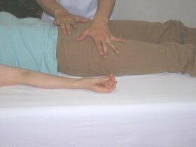股関節の調整。(右:女性の方はズボンでお越しください)